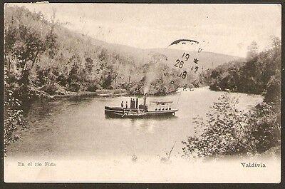 465 Chile Valdivia En El Rio Futa Ship Postcard 1908 Kirsinger