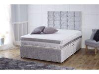 Crushed Velvet Divan - Double Bed