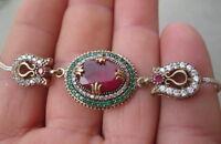 Bracciale Stile Antico Argento 925 Rubini Smeraldi Zaffiri Bianchi - bianchi - ebay.it