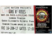 1 x Guns N' Roses concert ticket, Friday 16th June, London Stadium, standing/unreserved seating