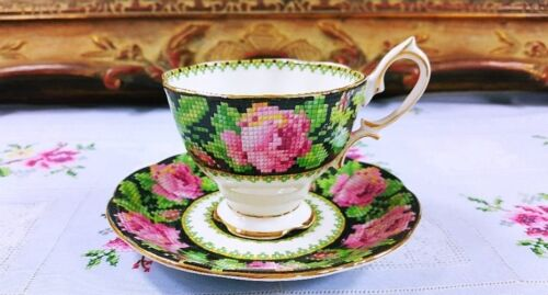 Royal Albert England Needle Point Pink Roses Cup Saucer Set