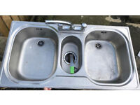 Kitchen sink stainless double bowl with taps