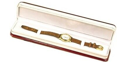 1 Premium Rosewood Veneer White Bracelet Watch Jewelry Display Gift Box