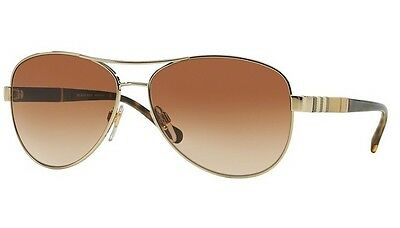 NWT Burberry Sunglasses BE 3080 1145/13 Gold / Brown Gradient 59 mm 114513 NIB