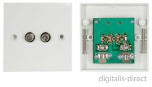 TWIN SATELLITE F TYPE WALL PLATE FACEPLATE SOCKET CONNECTOR SKY HD OUTLET PCB