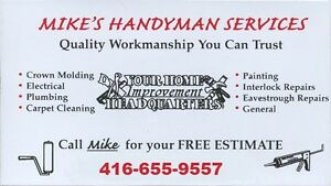 Mike's Handyman & Home Improvement Services CELL # 416-655-9557