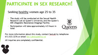 SEEKING WOMEN AGES 25 TO 35 FOR SEXUALITY RESEARCH-COMPENSATION