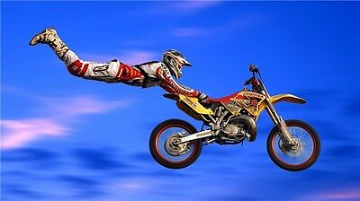 "MOTOCROSS DIRT BIKE JUMP SPORT PHOTO ART PRINT POSTER 24""x13"" 022"