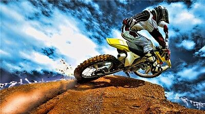 "MOTOCROSS DIRT BIKE JUMP SPORT PHOTO ART PRINT POSTER 24""x13"" 034"