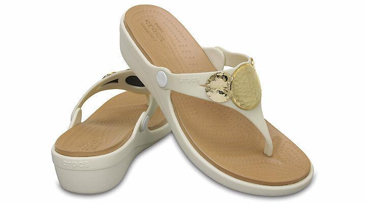 CROCS Women's Sanrah Embellished Wedge Flip Sandals Oyster G