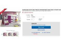 Kids Bunk/cabin bed with desk, storage and wardrobe - purple