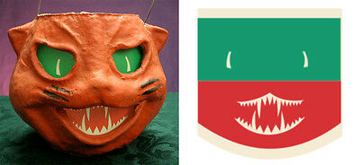 GLASSINE PAPER REPLACEMENT FACE FOR CAT HEAD PAPER MACHE LANTERN #W - Paper Mache Heads Halloween