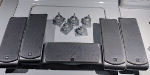 5 JBL Surround speakers with wall mounts