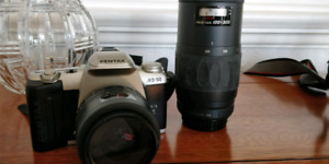 Pentax MZ-50 film camera with lenses