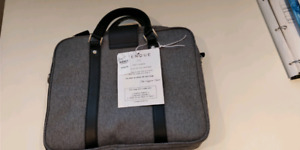 Women's laptop bag / briefcase. Grey and black.