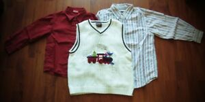 2 Boy's Holiday shirts & 1 spencer Size 6 and 1 pair of black