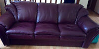 Burgundy all leather couch
