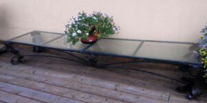 Vintage Antique Metal Coffee Table Base with glass top