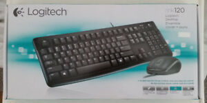 Logitech MK120 wired keyboard and mouse combo.