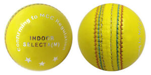 INDOOR-LEATHER-MENS-CRICKET-BALLS-YELLOW-CRICKET-BALL