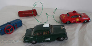 Linemar Toy Police and Japan Fire Dept Tin Antique Battery Toys