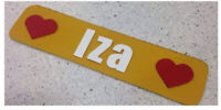 Lost - yellow leather personalized bookmark