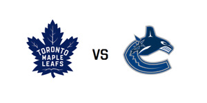 Leafs vs Vancouver Canucks Tickets - 324, 312, 118 - January 5
