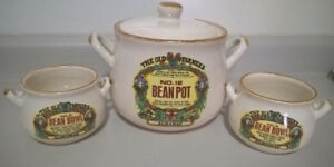 Vintage 1994 Old Farmers Almanac Bean Pot & 2 Serving Bowls