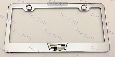 Cadillac ATS SRX  3D Emblem Stainless Steel License Plate Frame Rust Free W/Cap