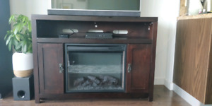 Electric fireplace and media console