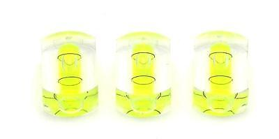 Three Unbreakable 25mm x 8mm Vial Clear Acrylic Block Spirit Bubble Level - Unbreakable Bubbles