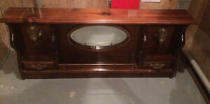 Vintage Dresser Top with Mirror and Queen Size HeadBoard