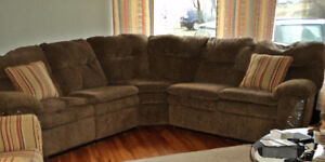 DUAL  RECLINER  SECTIONAL  SOFA  PLUS  CHAIRS