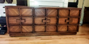 2 solid wood dressers retro style and in amazing shape