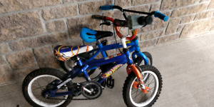 Two small childrens bikes