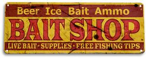 TIN SIGN PGB423 Bait Shop Fish Fishing Cabin Lake House Rustic Bait Sign Decor
