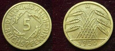 5 Reichspfennig - 1935 A - Weimarer Republik - Deutsches Reich      (604)***