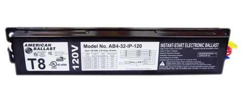 American Ballast 3 - 4 Lamp Instant Start Electronic Ballast Model AB4-32-IP-120