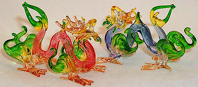 DRAGON Chinese ARTGLASS figurine SMALL Pair SYMBOL OF good fortune/health 2 pcs.