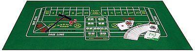 "Casino Blackjack Craps Set with Felt Dice Rake Playing Cards and Puck 18"" x 36"""