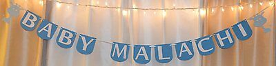 its a boy baby shower baby blue animal/giraffe custom name hanging banner decor](Blue Giraffe Baby Shower Decorations)