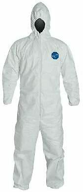 Tyvek Disposable Coveralls With Front Zipper Closure Elastic Waist 5x 25 Units