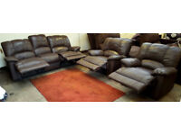 3 seater and 2 x armchair recliner sofas - chocolate.