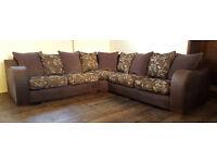 Large fabric corner sofa brown and aubergine