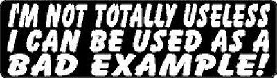 I'M NOT TOTALLY USELESS, I CAN BE USED AS A BAD EXAMPLE HELMET STICKER