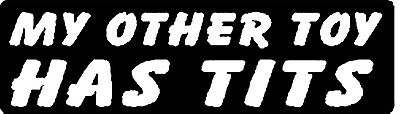 MY OTHER TOY HAS TITS HELMET STICKER HARD HAT STICKER LAPTOP STICKER TOOLBOX