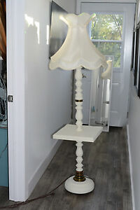 White Vintage Floor Lamp with scalloped shade