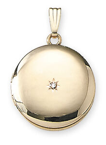 14K Gold Filled Round Locket with Diamond - 19mm - Made in USA