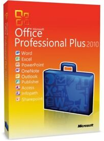 GENUINE MICROSOFT OFFICE SUITE 2010 PRO PLUS NEW ON ORIGINAL MICROSOFT DISC WITH LIFETIME LICENCES