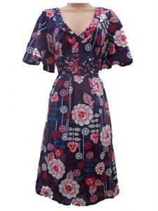LADIES LOVELY MULTI FLORAL TIE BACK DAY DRESS SIZE 14 BY LOVE LABEL BNWT